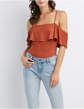 Faux Suede Ruffle Trim Cold Shoulder Bodysuit by Charlotte Russe