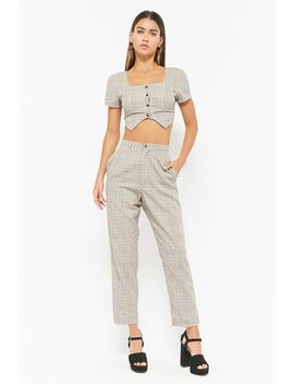 Glen Plaid High Waist Trousers by F21 Contemporary