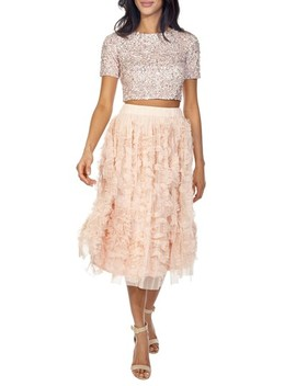 Picasso Sequin Top & Tulle Skirt Combo by Lace & Beads
