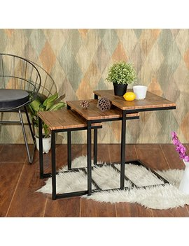 Lillyarn 3pc Stacking Nesting Coffee Table Set Of 3 End Side Tables Set Living Room Sofa Snack Table Brown by Lillyarn