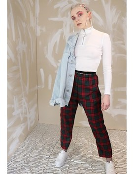 High Waist Tartan Check Trousers In Maroon by Dreaming London