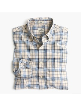 Slim Stretch Secret Wash Shirt In Blue And Grey Plaid by J.Crew