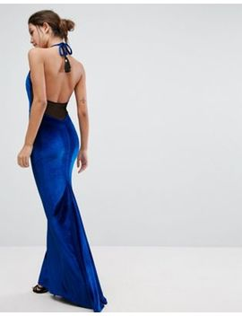 Asos Velvet High Neck Maxi Dress With Tassel Back by Asos Collection