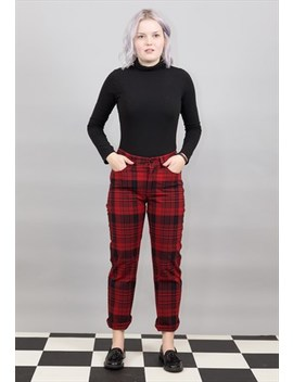 Red & Black Check Trousers by Square Eight