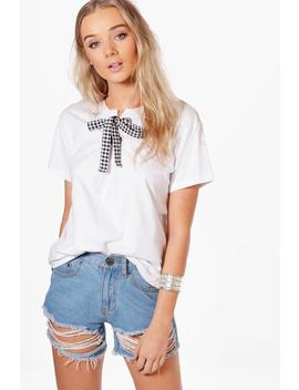 Grace Gingham Lace Up T Shirt by Boohoo