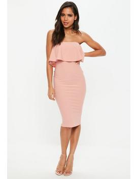 Rose Bandeau Frill Midi Dress by Missguided