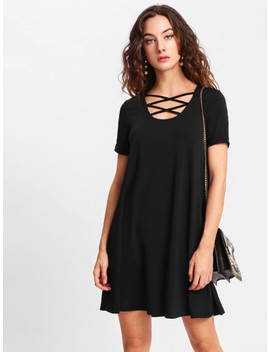 Crisscross Front Swing Tee Dress by Shein