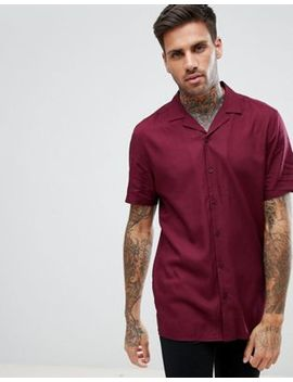 Asos Regular Fit Viscose Shirt With Revere Collar In Burgundy by Asos