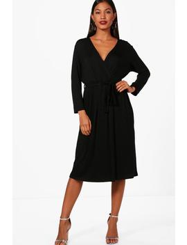 Rosie Turn Back Sleeve Wrap Midi Dress by Boohoo