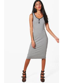 Jodie Lace Up Detail Striped Ribbed Dress by Boohoo