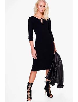 Demi Split Hem Long Sleeve Dress by Boohoo