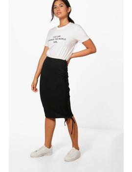 Layla Rouched Side Loopback Midi Skirt by Boohoo