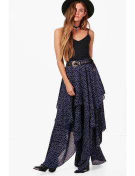 Saffy Star Print Layered Maxi Skirt by Boohoo