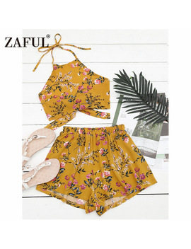 Zaful Swimming Beach Suit Floral Halter Crop Top With Shorts Two Piece Set Regular Floral Shorts Twinset Back Tied Top Cover Ups by Zaful Sportwear Store