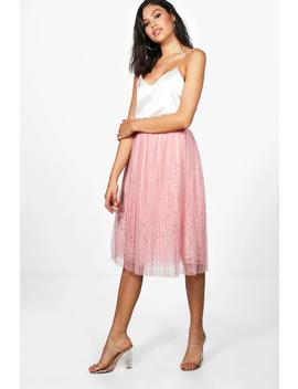 Neema Tulle Overlay Lace Full Midi Skirt by Boohoo