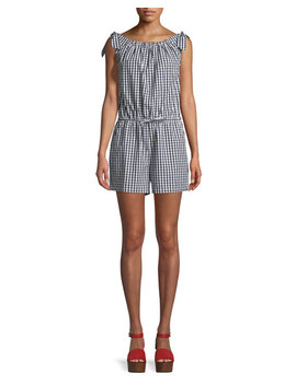 Round Neck Sleeveless Gingham Coverup Romper by Tory Burch