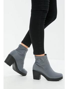 Grey Chunky Sole Sock Ankle Boots by Missguided