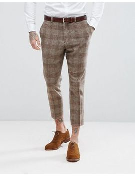 Asos Wedding Tapered Suit Pants In Camel Wool Mix Plaid  Check by Asos