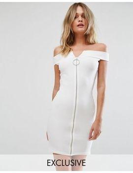 Missguided   Vestito Con Scollo Bardot E Zip Sul Davanti by Asos