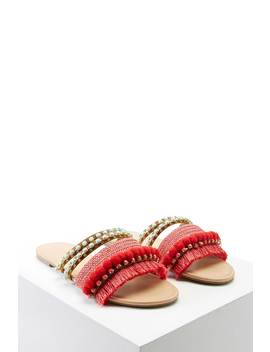 Fringed Pom Pom Sandals by F21 Contemporary