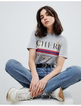 Pieces Metallic Printed Tee by Pieces