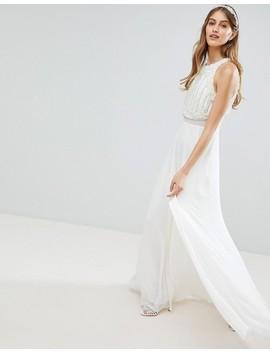 Asos Edition Maxi Wedding Dress With Pearl Crop Top by Asos Edition