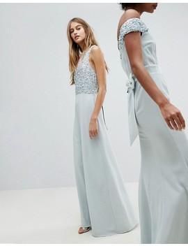 Maya Sleeveless Sequin Bodice Maxi Dress With Cutout And Bow Back Detail by Maya's