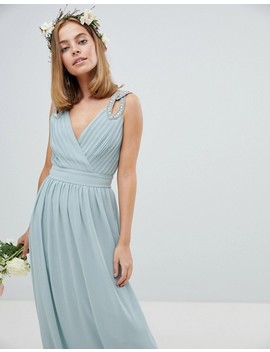 Tfnc Petite Wedding Wrap Front Maxi Dress With Embellishment by Tfnc