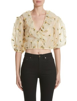 Bliss Embroidered Floral Wrap Top by Ganni