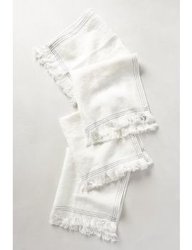 Stitched Linen Napkin Set by Anthropologie