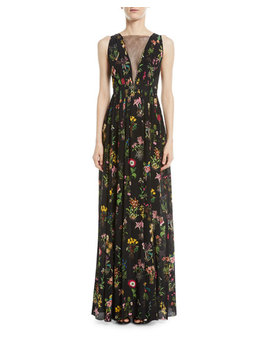 Sleeveless Floral Print Long Evening Gown by No. 21