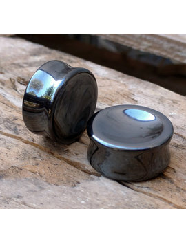 "Pair Hematite Double Flared Concave Rounded Metallic Grey Plugs 8mm 0 G 10mm 00 G 12mm (1/2"") 14mm (9/16"") 16mm (5/8"") 18mm (11/16"") 25mm (1"") by Etsy"