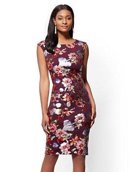 7th Avenue   Scoopneck Sheath Dress   Metallic Foil Floral by New York & Company
