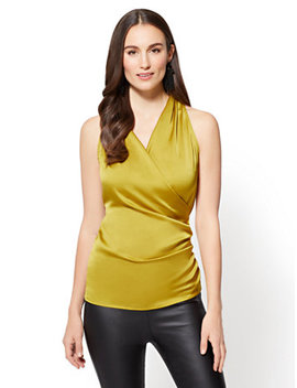 7th Avenue   Shirred Wrap Blouse   Chartreuse by New York & Company