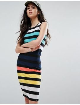 Superdry Midi Multi Color Bodycon Stripe Dress by Superdry