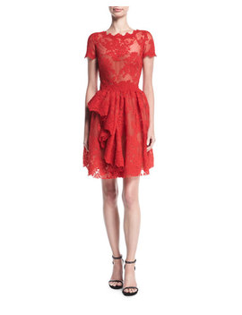 Floral Lace Cap Sleeve Dress by Marchesa