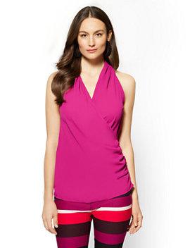 7th Avenue   Shirred Wrap Blouse   Fuchsia by New York & Company