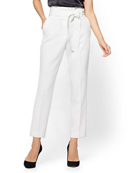 Paperbag Waist Slim Ankle Pant   Ivory by New York & Company