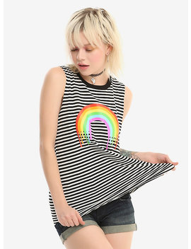 Black & White Striped Dripping Rainbow Girls Tank Top by Hot Topic
