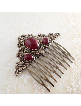 Antique Style Hair Comb   Antiqued Brass Bronze And Red Victorian Style Hair Comb Slide   Goth Renaissance Wedding Accessories by Etsy