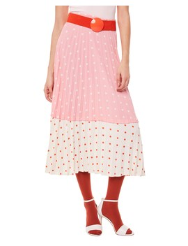 Polka Dot Pleated Midi Skirt by Juicy Couture