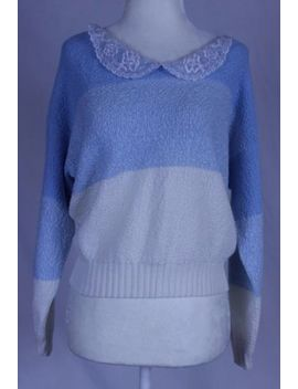 Vtg Pastel Blue Peter Pan Collar Sweater 80s 90s Sweet Lolita Fairy Kei Kawaii by Brunny