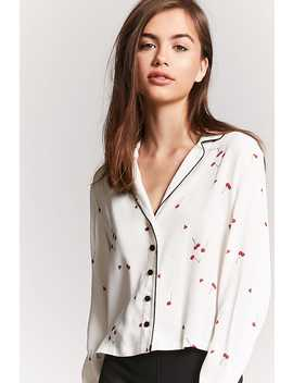Contrast Cherry Print Shirt by F21 Contemporary