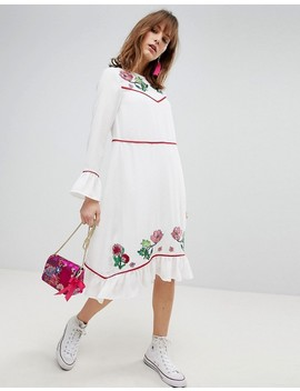 Asos Embroidered Yoke Western Midi Dress by Asos Collection