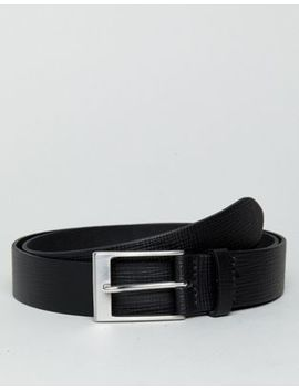 Asos Smart Slim Belt In Black Leather With Saffiano Emboss by Asos