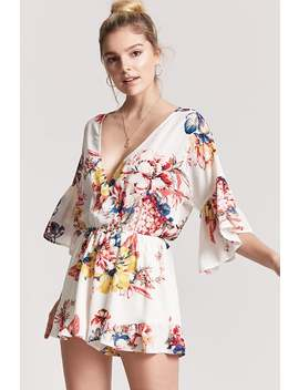Surplice Floral Print Playsuit by F21 Contemporary