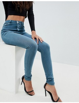 Asos Tall Ridley High Waist Skinny Jeans In Amaris Green Cast Wash by Asos Design