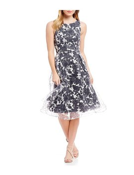 Adrianna Papell Floral Burn Out Midi Dress by Adrianna Papell