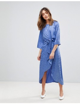 Y.A.S Satin Midi Dress With Kimono Sleeve by Y.A.S.