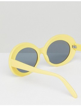 Asos Oval Sunglasses In Yellow by Asos Collection